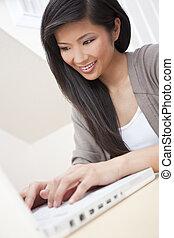 mulher bonita, chinês, computador laptop, asiático, usando