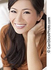 mulher bonita, chinês, jovem, menina asiática, ou, feliz