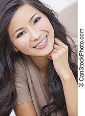 mulher bonita, chinês, oriental, asiático, sorrindo