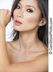 mulher bonita, chinês, pelado, menina asiática