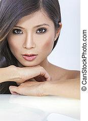 mulher bonita, chinês, rosto, menina asiática