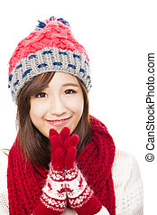 mulher bonita, cima, asiático, silenciador, fim, mittens, chapéu