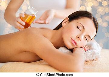 mulher bonita, cima fim, spa, tendo, massagem