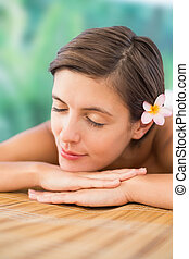 mulher bonita, cima fim, tabela, massagem