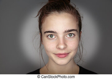mulher bonita, cima, jovem, fim, retrato
