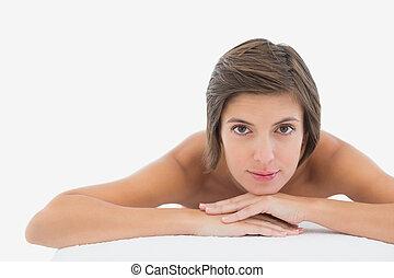 mulher bonita, cima, tabela, fim, retrato, massagem