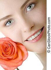 mulher bonita, closeup, com, rosa
