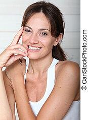 mulher bonita, closeup, condicão física, equipamento