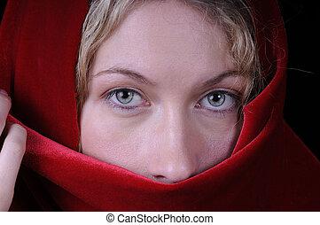 mulher bonita, closeup, loura