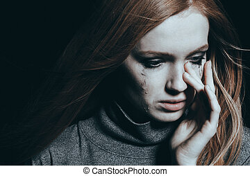 mulher bonita, cobertura, lágrimas