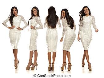 mulher bonita, colagem, jovem, vestido branco