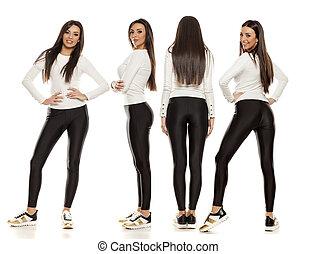 mulher bonita, colagem, tights, jovem, pretas