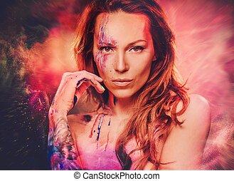 mulher bonita, colorido, maquilagem, criativo, experiência., retrato