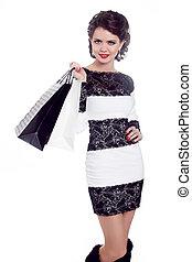 mulher bonita, com, bolsas para compras, isolado, branco