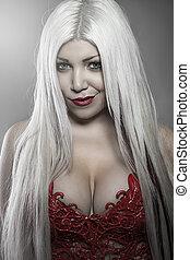 mulher bonita, com, cabelo branco, vermelho, colete, escalas