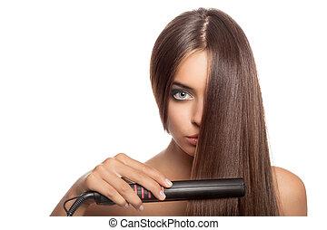 mulher bonita, com, cabelo, iron., isolado, branco, experiência.