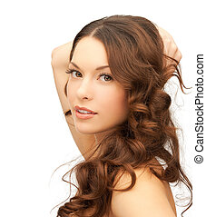 mulher bonita, com, cabelo longo