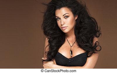 mulher bonita, com, cabelo longo, portrait.