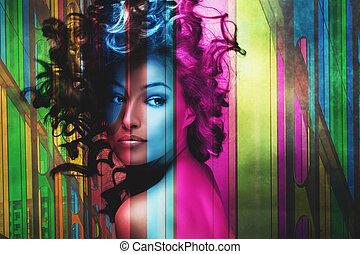 mulher bonita, com, cabelo, movimento, exposição dobro
