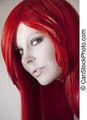 mulher bonita, com, cabelo vermelho