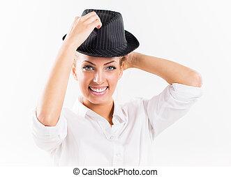 mulher bonita, com, chapéu