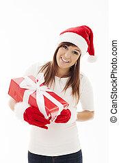 mulher bonita, com, chapéu santa, segurando, presente natal