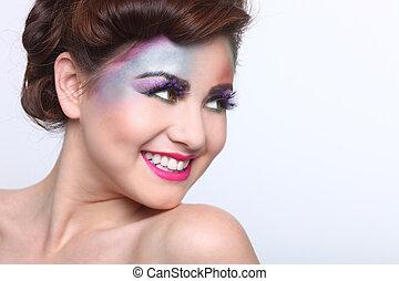 mulher bonita, com, coloridos, criativo, cosméticos
