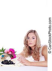 mulher bonita, com, flor