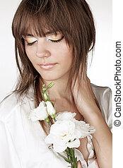 mulher bonita, com, flor, isolado, branco, fundo