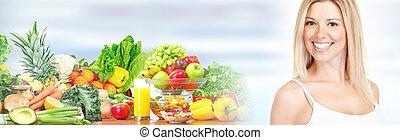 mulher bonita, com, frutas legumes