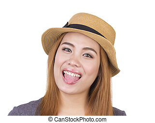 mulher bonita, com, hat.