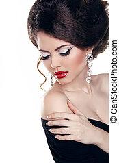 mulher bonita, com, lábios vermelhos, make-up., jóia, e,...