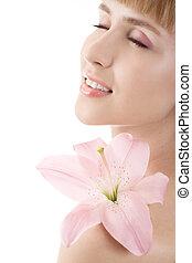mulher bonita, com, lírio cor-de-rosa, isolado, branco