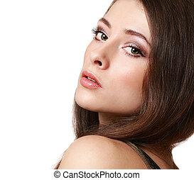 mulher bonita, com, longo, chicotadas, olhar, isolated., closeup, retrato