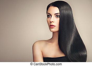 mulher bonita, com, longo, liso, cabelo