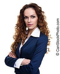 mulher bonita, com, longo, ondulado, hair.