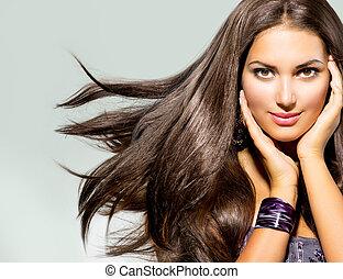 mulher bonita, com, longo, soprando, cabelo