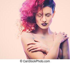 mulher bonita, com, magnífico, galáxia, cabelo