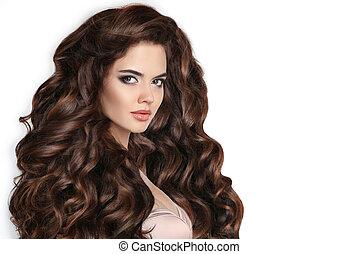 mulher bonita, com, ondulado, saudável, cabelo, isolado,...