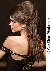 mulher bonita, com, penteado, luxuriant, longo, hair., beauty., cabelo longo