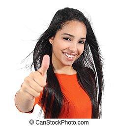 mulher bonita, com, perfeitos, branca, sorrizo, com, polegar...