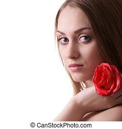 mulher bonita, com, rosa