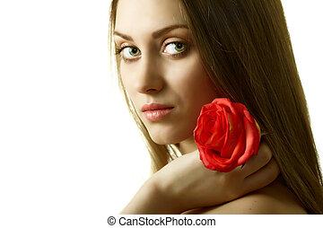 mulher bonita, com, rosa, isolado