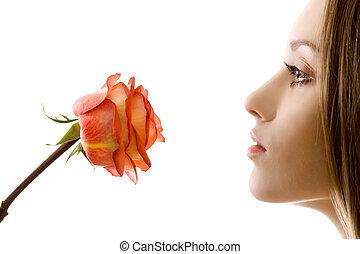 mulher bonita, com, rosa, sideview, isolado
