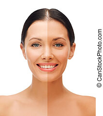 mulher bonita, com, rosto meio, bronzeado