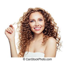 mulher bonita, com, saudável, cabelo ondulado, isolado, ligado, white., haircare, conceito