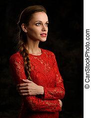 mulher bonita, com, trança, em, vestido vermelho