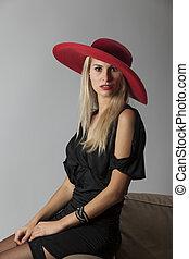 mulher bonita, com, um, chapéu