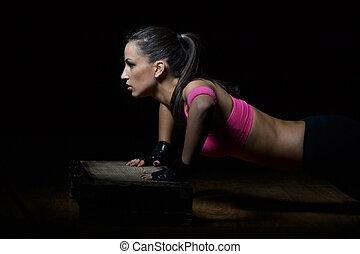 mulher bonita, condicão física, trabalhar