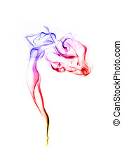 mulher bonita, cor, abstratos, isolado, fumaça, branca